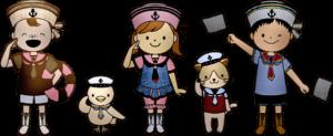 dzieci w strojach marynarskich
